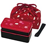 Japanese Traditional Rabbit Blossom Bento Box Set - Square 2 Tier Bento Box, Rice Ball Press, Bento Bag (Red)