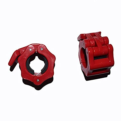 1 Inch Locking Olympic Standard Size Diameter Barbell Clamps ABS Locking Collars Clamp For 25mm Barbells and 1'' Barbells (Red)