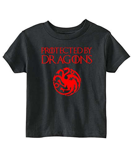 """Game Of Thrones Toddler """"Protected By Dragons"""" T-Shirt (4T, Black)"""