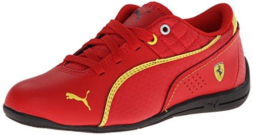 Drift Cat 6 Cuero Ferrari JR Sneaker, Rosso Corsa / Rosso Corsa / Amarillo vibrante, 5 M US Big Kid
