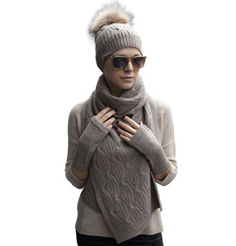 Warm 100% Cashmere Braided Scarf, Pom-pom Hat and Mittens Winter Set (Brown Beige)