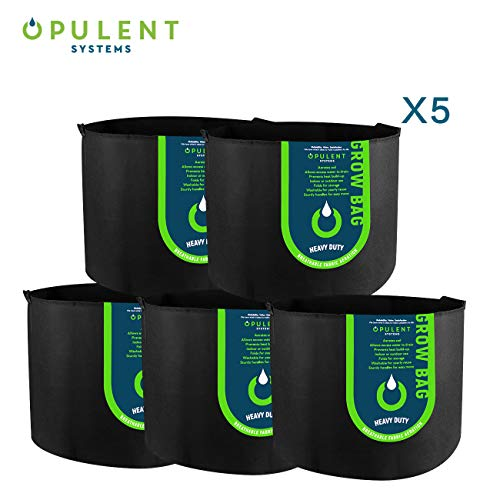 OPULENT SYSTEMS 5-Pack 20 Gallon Heavy Duty Aeration Fabric Grow Bags Thickened Nonwoven Fabric Containers for Potato/Plant Pots with Handles ()
