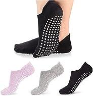 Vetoo Yoga Socks for Women Non-Slip Grips, Ideal for Pilates, Pure Barre, Ballet, Dance, Barefoot Workout, 3 P
