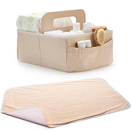 Diaper Caddy, Nursery Storage Bin - With Changing Pad (Beige), Organizer For Changing Table, Fits Wipes Case, Lotions, Creams, Toys, Cute Baby Shower Gift Cream Changing Pad