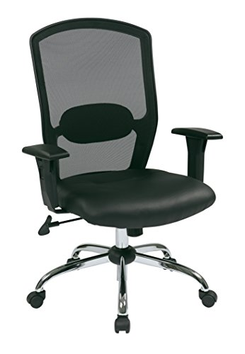 Office Star Breathable Screen Back and Padded Leather Seat, Adjustable Arms, Chrome Finish Base High Back Managers Chair, Black ()