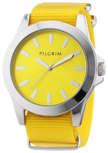 Pilgrim-Reloj-analgico-para-mujer-de-nailon-amarillo