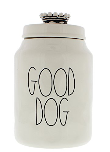 (Rae Dunn Magenta Ceramic Canister Good Dog Crown Top Pet Canister)