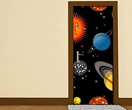 T/ürgr/össe:67cmx200cm T/üraufkleber Weltall Erde Saturn Sonne Cartoon Planet Planeten Kinderzimmer T/ür Bild T/ürposter T/ürfolie Druck Aufkleber sticker 15A3057