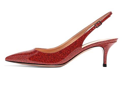 Sandales Pointus Briller Haut Escarpins Sexy 5CM Grande Taille Femme Chaussures Aiguille Talon 6 rouge Slingback de ELASHE v015qwxZq