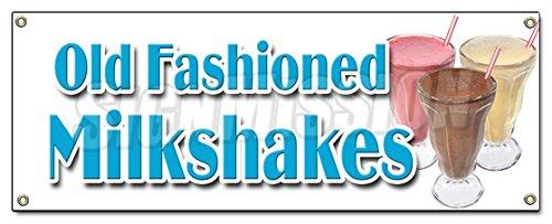 OLD FASHIONED MILKSHAKES BANNER SIGN malts thick ice cream soda milk