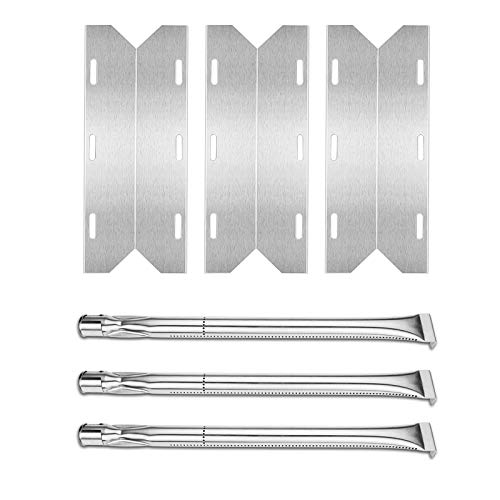 Uniflasy Stainless Steel Gas Grill Replacement Parts Kit, Including Grill Burners, Heat Plate for Charmglow Home Depot 3 Burner, 720-0230, 720-0036-HD-05, Sterling Forge 720-0016, 3-Pack