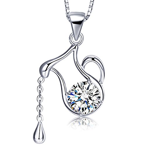 Sterling Vase - JiangXin 12 Constellation Pendant Necklace for Girls 925 Sterling Silver Platinum Plated Halo Diamond Rhinestone Fine Jewelry for Women Birthday Gift