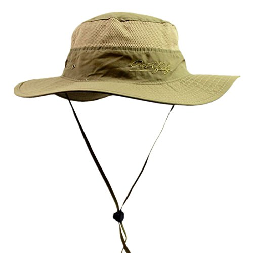 Connectyle Outdoor Mesh Sun Hat Camouflage Boonie Bucket Hats Fishing Hats with String Dark Khaki