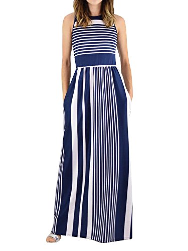 Lovaru Womens Striped Print Dresses Sleeveless Pleated Crew Neck Loose Maxi Dress with Pockets