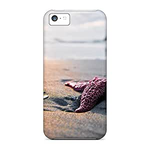 Protective Tpu Case With Fashion Design For Iphone 5c (pink Starfish On The Beach)