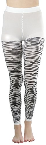 Zebra Print Pantyhose (ToBeInStyle Women's Zebra Print Ankle High One Size Leggings - Black and White)