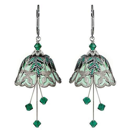 NoMonet Hand Painted Flower Fairy Earrings - Lucky in Love in Silver and - Earrings Lucky Clover
