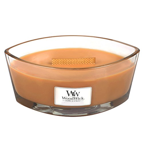Caramel Apple 16 Oz Jar - Hot Toddy WoodWick New Collection HearthWick Flame Large Oval Jar Scented Candle - 16 Ounces