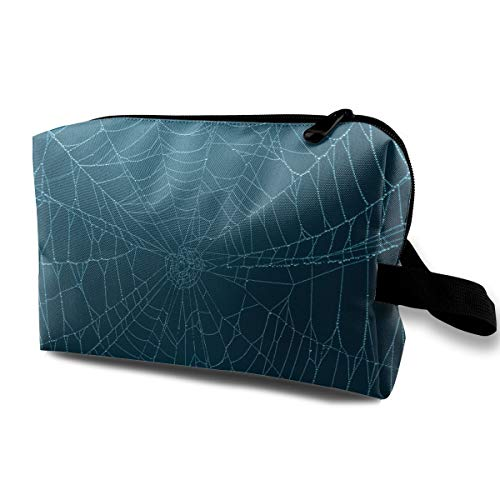 (Halloween Fake Spider Cobwebs Multi-function Travel Makeup Toiletry Coin Bag)