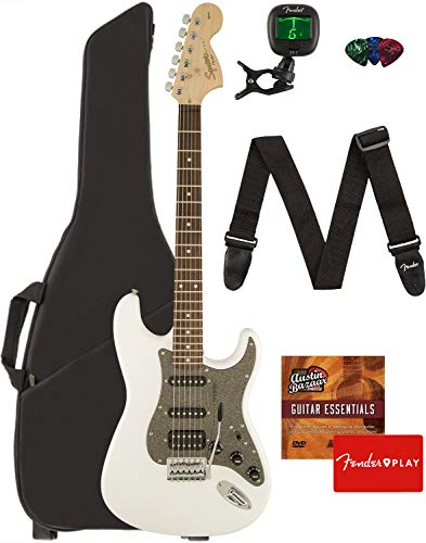 - Fender Squier Affinity Series Stratocaster HSS Guitar - Laurel Fingerboard, Olympic White Bundle with Gig Bag, Tuner, Strap, Picks, and Austin Bazaar Instructional DVD