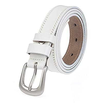 "INSIGHTER Genuine Leather Belt for Women Waist Skinny Dress Belt for Jeans Pants Silver Buckle 0.95"" Width Black Red White"