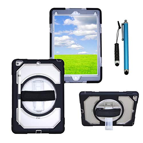 Cellular360 Multi-functional Case with 360 Degrees Rotatable Stand, Adjustable Handle and Pencil Holder for iPad 9.7 2018/2017, iPad 5th Gen, iPad 6th Gen (Black/Transparent) by Cellular360
