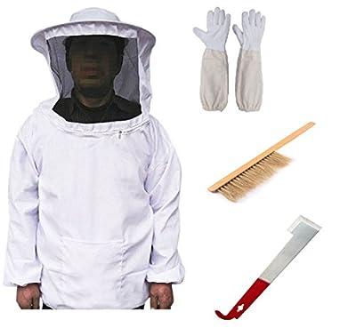 New Beekeeping Bee Keeping Suit Jacket&Gloves& Bee Hive Brush & J Hook Hive Tool Set