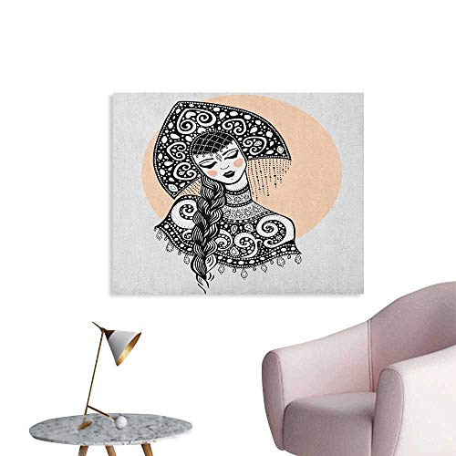 Anzhutwelve Russian Art Stickers Ethnic Slavic Woman in Folk Clothes Ornamental Moscow Graphic Art Poster Print Black White and Pale Peach W36 xL32 (Lana Del Rey Tv In Black & White)