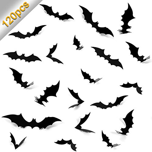 Home Kitty 120 PCS Halloween Party Dcorations 3D Scary Bats Wall Sticker Window Decor for Halloween Eve Party Supplies Kids Room Decor,4 Sies