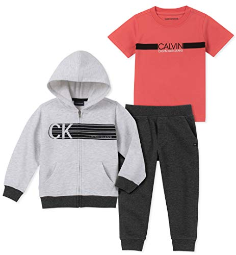 Calvin Klein Boys' Toddler 3 Pieces Jog Set, Gray/Charcoal, 4T