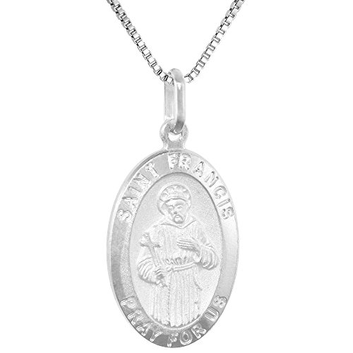 Sterling Silver Francis Medal Necklace