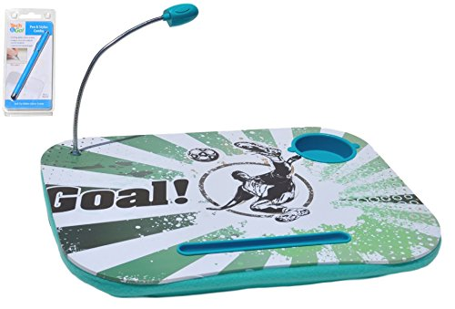 Green Soccer Back to School Sale Portable Laptop Tablet Notebook Computer Lap Desk with Cup Holder Light Cushion Pillow Best Unique Gift for Girls Boys Teens Kids Adults with Stylus
