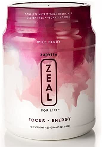 Zurvita Zeal for Life 30 Day Wellness Canister, Wild Berry, 420 Grams | Gluten Free, Super Greens, Powder Supports Immune System and Boosts Energy
