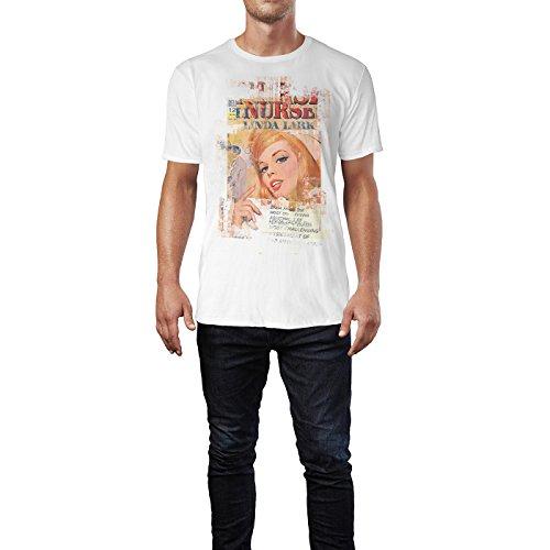 SINUS ART® Nurse Linda Lark Herren T-Shirts stilvolles weißes Fun Shirt mit tollen Aufdruck