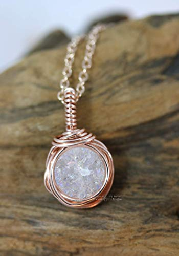 Rose Gold Wire Wrapped Druzy Pendant Dainty Layering Necklace White AB 16