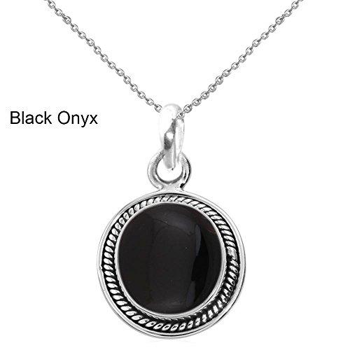 Genuine Black Onyx Necklace - GOURIK 9.10ct, Genuine Cabochon Black Onyx 14x14mm Round & Silver Plated Pendant