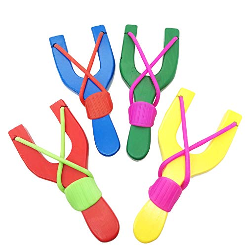 Adventure Awaits!! - 4 Pack Hand-Carved Wooden Slingshots - Red, Blue, Yellow (or Blue), Green Sling Shots. Each Hand Painted Wood Slingshot is Sold in a Package of 4.