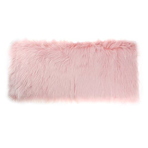 - Baoblaze Shaggy 5cm Pile Silky Sheepskin Rug Faux Fur Area Rug, Non Shed Washable Bedside Floor Carpet, Sofa Chair Seat Cover Cushion, Door Window Mat - Light Pink, 80x50cm / 32x20 Inch