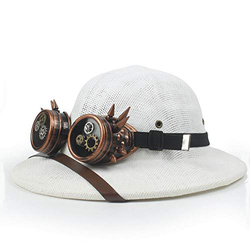 Holiday Party Bowler Hat Women's Bowler Hat Steampunk Glasses Toquilla Straw Helmet Pith Sun Hats for Men Vietnam War Army Hat Dad Boater Bucket Hats Safari Jungle Miners Cap Wedding Design Hat