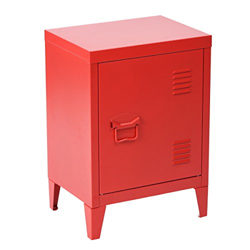 (HouseinBox Office File Storage School Lab Supplies Stand Storage 2 Tier Cabinet Shelves, Detachable 4 Legs,Size:15.9'' x 12'' x 22.6'',Red)