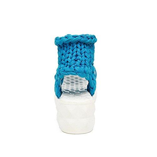 Odomolor Mujeres Sin cordones Puntera Abierta Tacón Medio Sólido Sandalias de vestir Azul