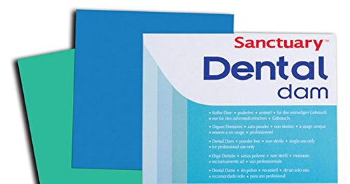 (Sanctuary Latex Dental Dam,Powder Free, Pack of 52 (Blue 5