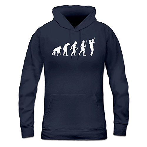 Sudadera con capucha de mujer Trumpet Player Evolution by Shirtcity Azul marino