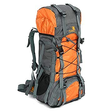 Free Knight 60L Internal Frame Backpack Hiking Travel Backpack Camping Rucksack 60L Extra Large (Orange)