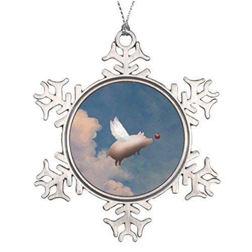 wonbye Christmas Ornaments 2018, Flying Pig Xmas Pig Wings Ideas Decorating When Pigs Fly Fantasy Creatures Pattern Metal Snowflake Tree Decoration
