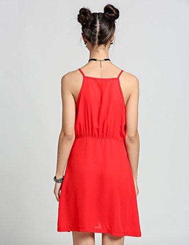 297758b087d9 ... ZEARO Damen Sommerkleider Sexy Kurz V-Ausschnitt Ärmellos mit Träger  Minikleid Overall Rot wBhKMUXi