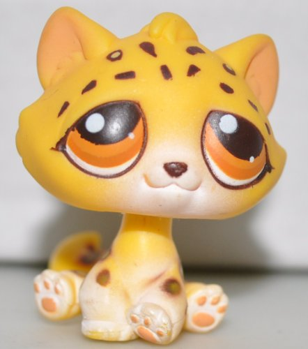 Leopard #388 (Kitten Head Sitting Mold, Yellow, Orange Eyes) Littlest Pet Shop (Retired) Collector Toy - LPS Collectible Replacement Single Figure - Loose (OOP Out of Package & Print)