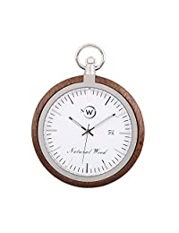 Swiss Quartz Movement Original Wood Man Pocket Watch Kwock Best Birthday Father's Day Gift (Black Walnut)