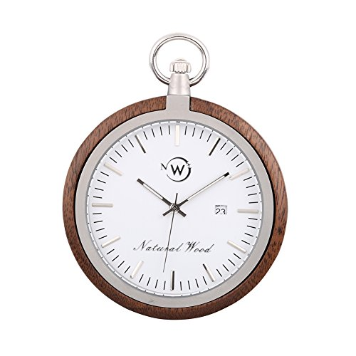 Swiss Made Pocket Watch (Original Wood Pocket Watch, Kwock Swiss Quartz Movement Stainless Steel Chain Natural Wooden Case Man Pocket Watches Best Gift for Birthday Holiday (Black Walnut))