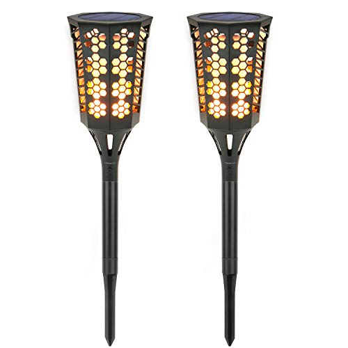 Solar Torch Lights [2PCS], MoKo Waterproof Flame Lighting Lamps 96LED Outdoor Flickering Torches Lantern Light Sensor Solar Spotlight for Garden Landscape Lawn Patio Deck Yard, Auto On/Off - BLACK